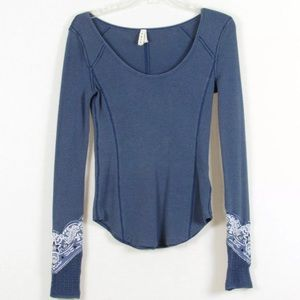 Free People We The Free Size S Waffle Thermal Top